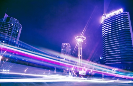 The light trails of night motion on urban streets in Fuzhou\ ,China