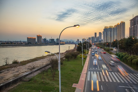Twilight view of traffic jam on city in Fuzhou,China photo