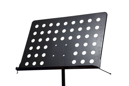 Empty metal music stand with clipping path isolated on a white background photo
