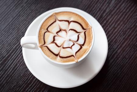 mocha coffee drink on a wood table photo