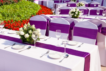 reception desk: outdoor tables with served plates and wine glasses in the garden Stock Photo