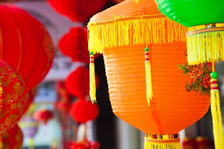 colorful lantern: Colorful Chinese paper lanterns hanging in a street market prepared for Chinese spring festival