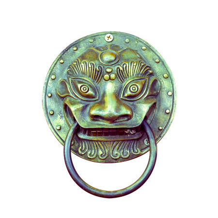 Traditional Chinese Door knocker isolated on the white background Clipped path included  photo