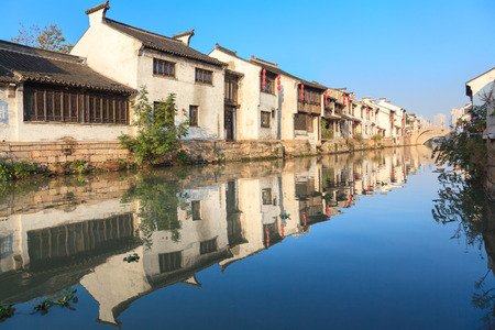 An old Chinese traditional town by the Grand canal,suzhou,jiangsu,China  the Grand canal is oneof  famous and oldest canal in the world, it is a famous tourist destination for it photo