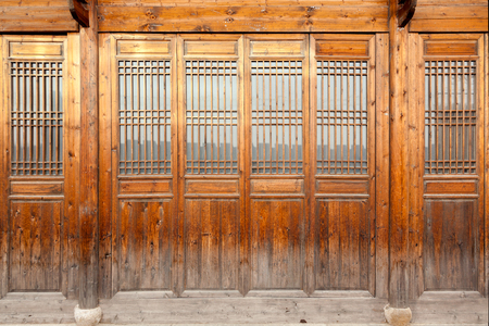 traditional house: Close up traditional Chinese style wooden door. Stock Photo
