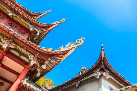 The old style Chinese eaves under blue sky in the temple of ziti,Ningde,Fujian,China