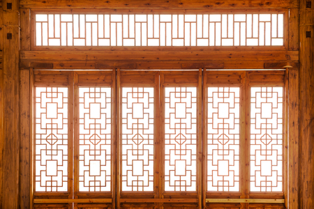 Closeup Chinese old wooden frame door with decorative pattern