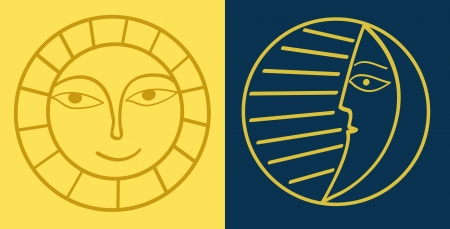day and night: Sun and moon Illustration