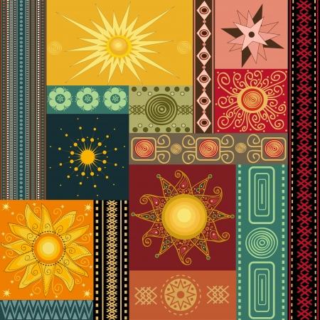 Peinture Collage de soleil Banque d'images - 15687722