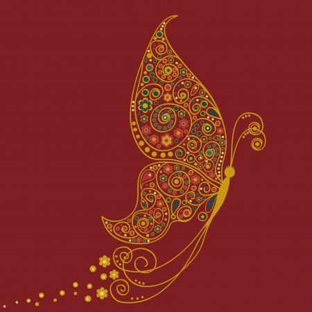 butterfly silhouette: Butterfly in Indian style