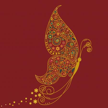mariposas amarillas: Mariposa en estilo indio Vectores