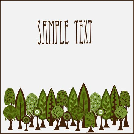 Card with trees for sample text Illustration