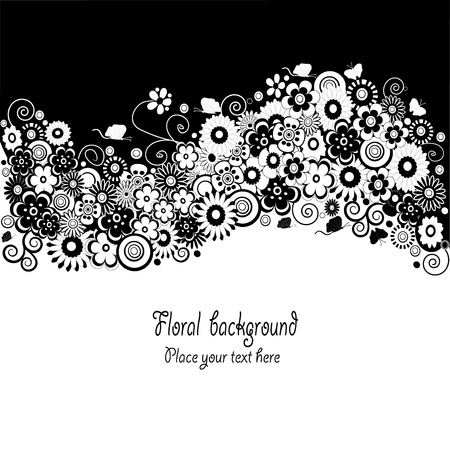 Floral in black and white card Vector