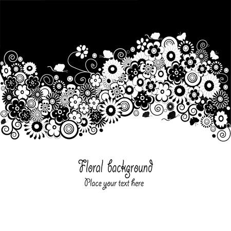 Virág fekete-fehér kártya Illusztráció