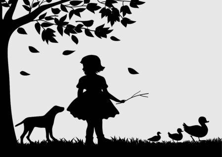 ducks  silhouette: Girl with ducks