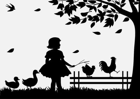 ducks  silhouette: Girl with birds