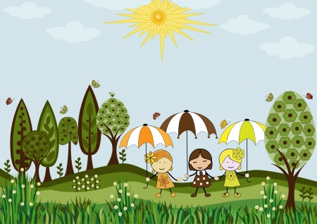Girls outdoors Vector