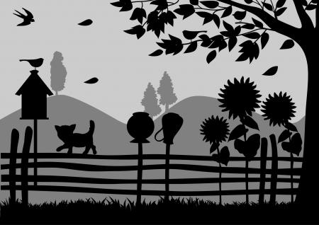 Evening in the village Stock Illustratie