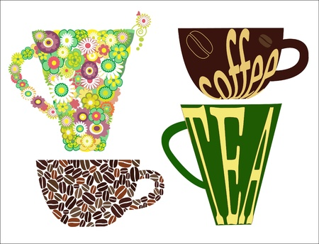 green coffee beans: Cups of coffee and tea