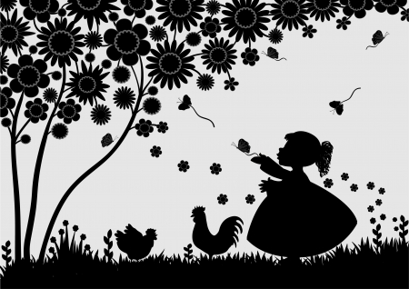 animal cock: Girl with butterflies in the garden Illustration