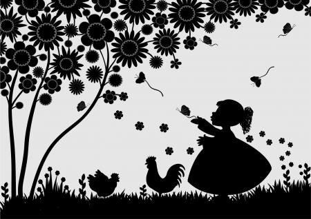 Girl with butterflies in the garden Stock Illustratie