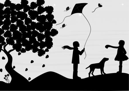 Les enfants et les serpents volants Illustration