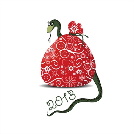 a snake in a bag: Santa sack Illustration