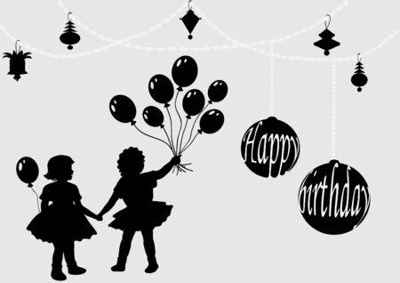 balloon girl: Celebration card