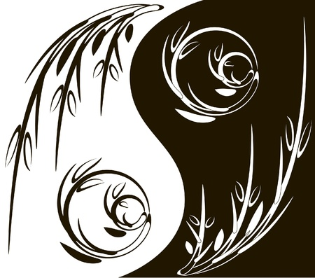 Yin Yang symbol made of branches Stock Vector - 16159403