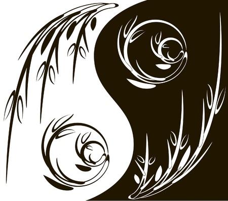 Yin Yang symbole de branches Illustration