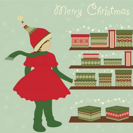 christmas motif: Girl-elf and boxes with gifts