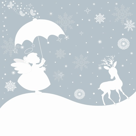 cartoon umbrella: Christmas  background Illustration