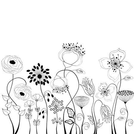 lijntekening: Bloemen achtergrond