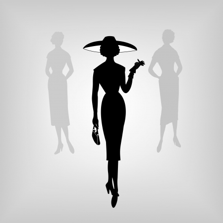 Retro women, silhouette