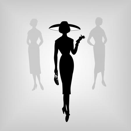 Retro women, silhouette