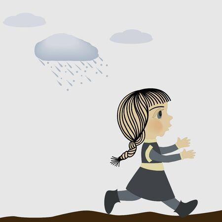 Girl and rain Vector