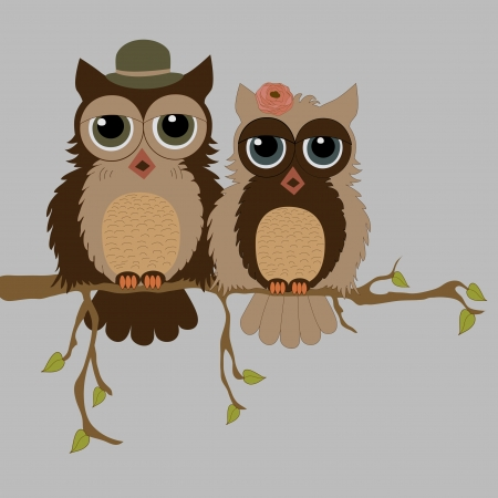 Pair of owls on branch Illustration