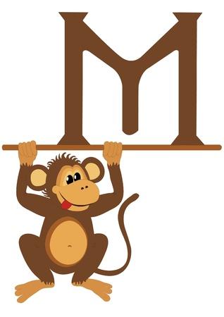 monkey clip: M for Monkey Illustration