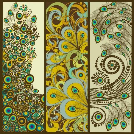 pluma de pavo real: Conjunto de banners verticales Vectores