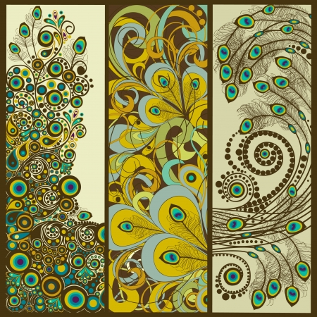 peacock pattern: Set of vertical  banners  Illustration