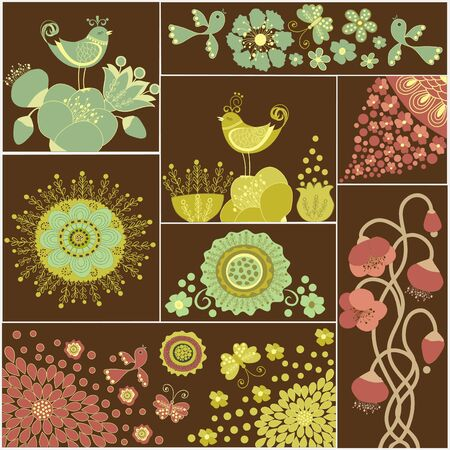 Eight squares with flowers Vector
