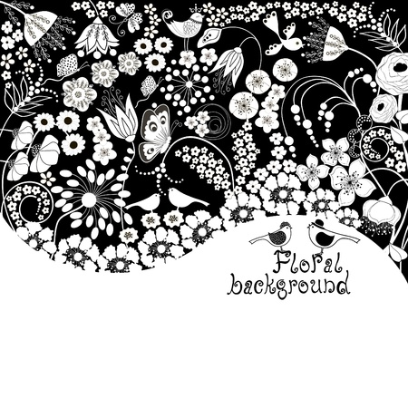 black white: Floral background