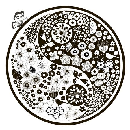 Fekete és fehér virágok, yin yang