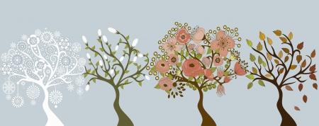 Les arbres dans les saisons Illustration
