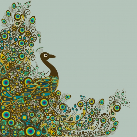 plume de paon: Peacock carte Illustration