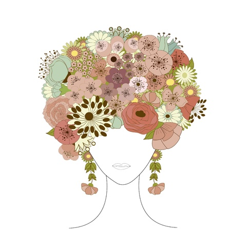 portrait woman: Woman floral silhouette Illustration