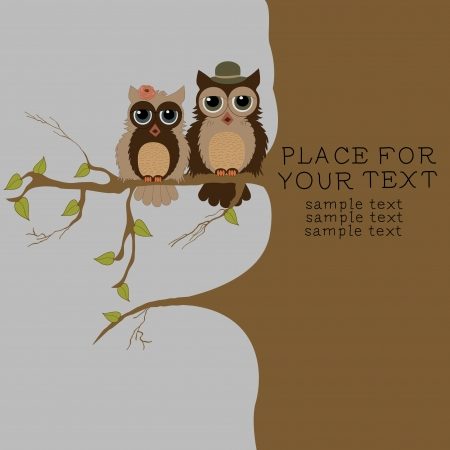 lovebirds: Pair of owls on branch Illustration