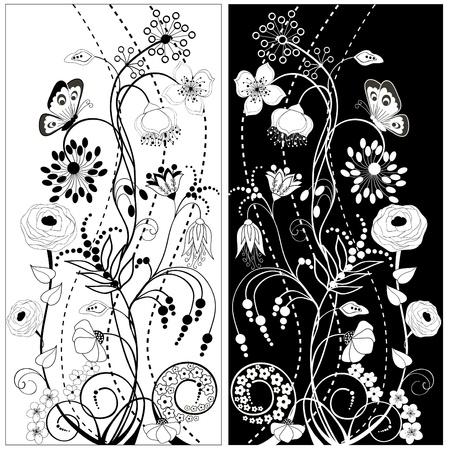 Fekete és fehér virágok Illusztráció