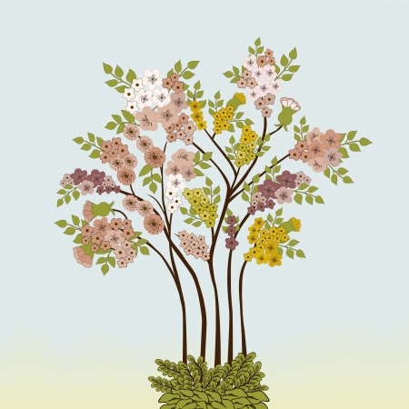pink bushes: Branches with flowers Illustration