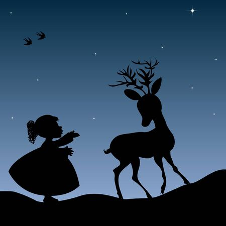 Girl and deer Vector